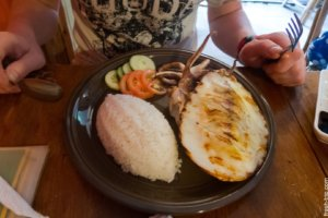 Lunch: Cuttlefish with rice and vegetables, El Nido, Philippines