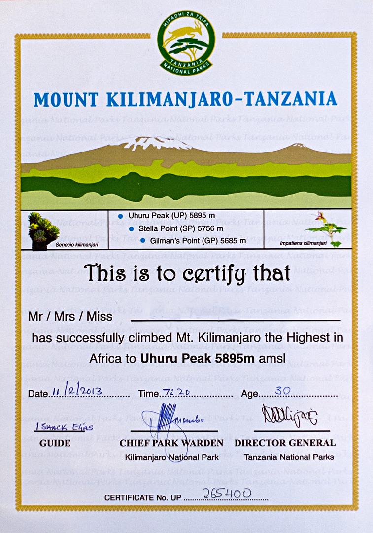Сертификат о покорении Килиманджаро (Kilimanjaro Certify)