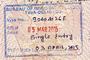 штамп о прибытии в Индию