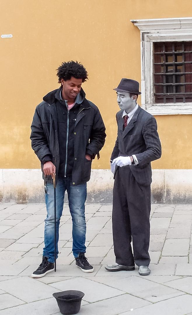Мим на улице, Венеция, Италия