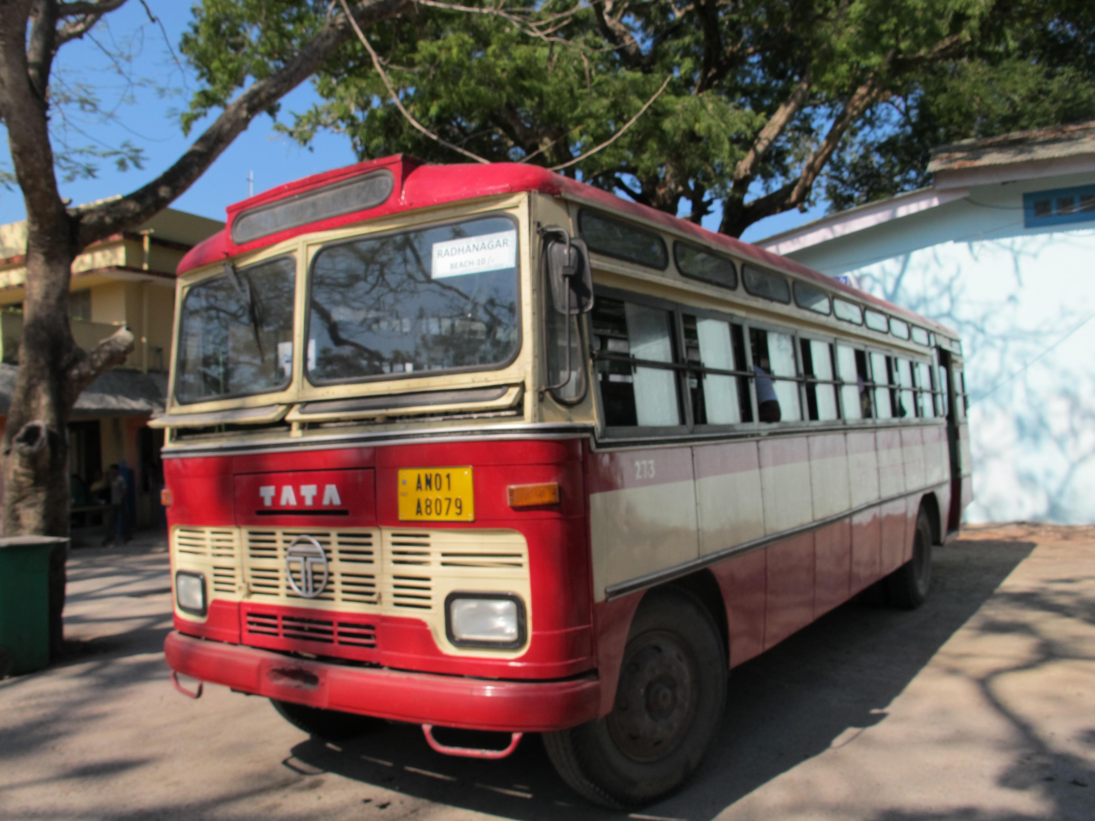 Автобус до пляжа Радханагар, bus to Radhanagar Beach