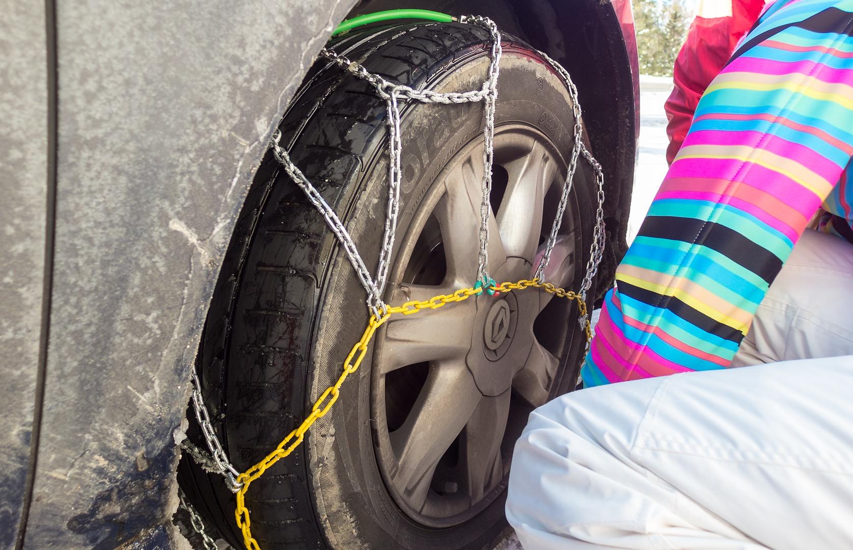 установка цепей на колёса