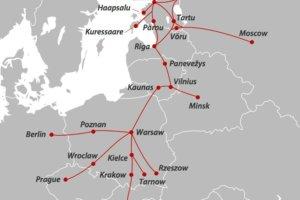 карта автобусных маршрутов по Европе